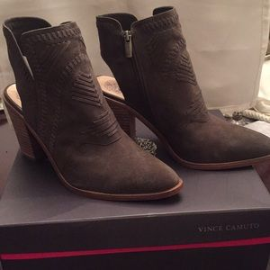 Vince Camuto suede open back shoe boots